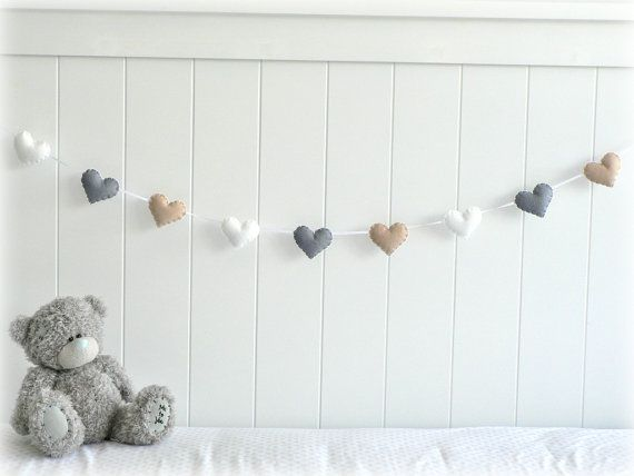 Heart garland - heart banner - nursery decor - white, gray and light beige - natural - Made to order