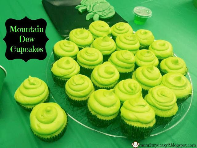 TMNT Themed Party .. Mountain Dew Cupcakes with Mountain Dew Frosting
