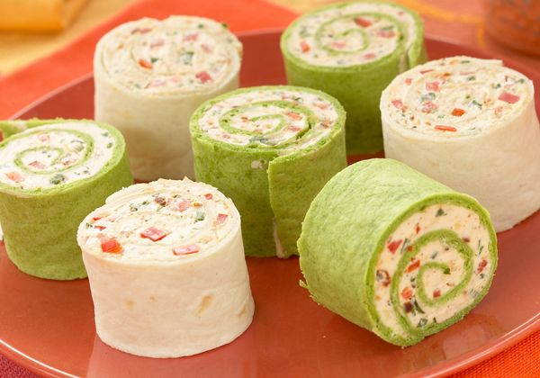 Will make some adjustments, but I like the overall idea here: SPICY CREAM CHEESE ROLL UPS 8 oz (225g) package no fat or low fat cream cheese, softened 2 Tbsp. (30mL) Mrs. Dash® Southwest Chipotle Seasoning Blend 3 Tbsp. (45mL) green onions, chopped 2 Tbsp. (30mL) red pepper, finely chopped 4 large flour tortillas