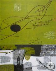 Annette Janle, Vielleicht ein Fahrtenbuch, Acryl und Collage auf Leinwand (628 KB)