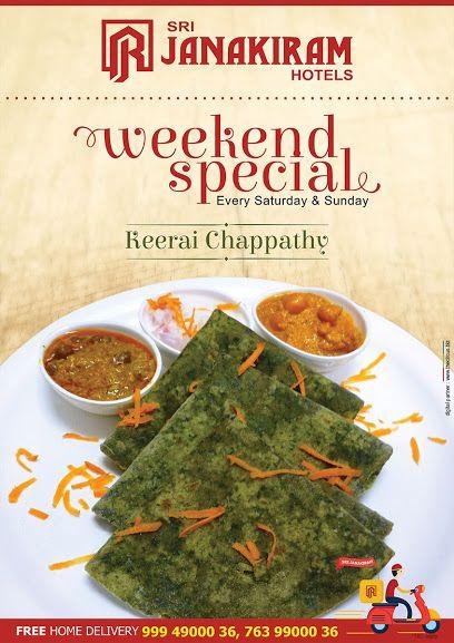 Tasty Keerai Chapathi makes the food lovers so tempting! Enjoy this #delicious #weekend_exclusive at #Srijanakiram_Hotels.  #srijanakiram #weekend #special #keerai_chapathi