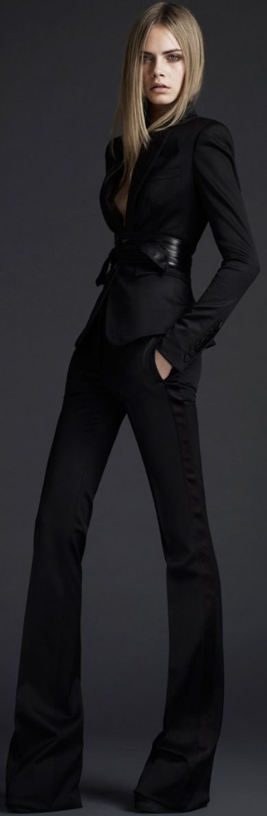 Pantsuits, introduced in the second half of the 1960s, were revived by designers in the 1990s. The example here was designed by Burberry. 3/27/15