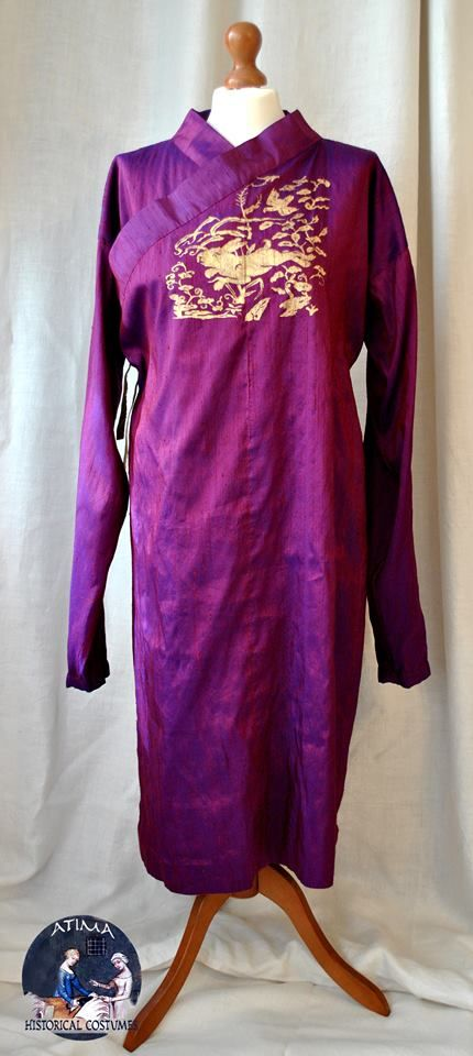 Mongol - Yuan Dynasty - Silk Deel with silk lining and hand printed front badge