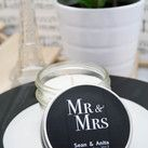 Personalised Wedding Soy Candles in a 4 Oz Vintage Modern Jar - Mr and Mrs