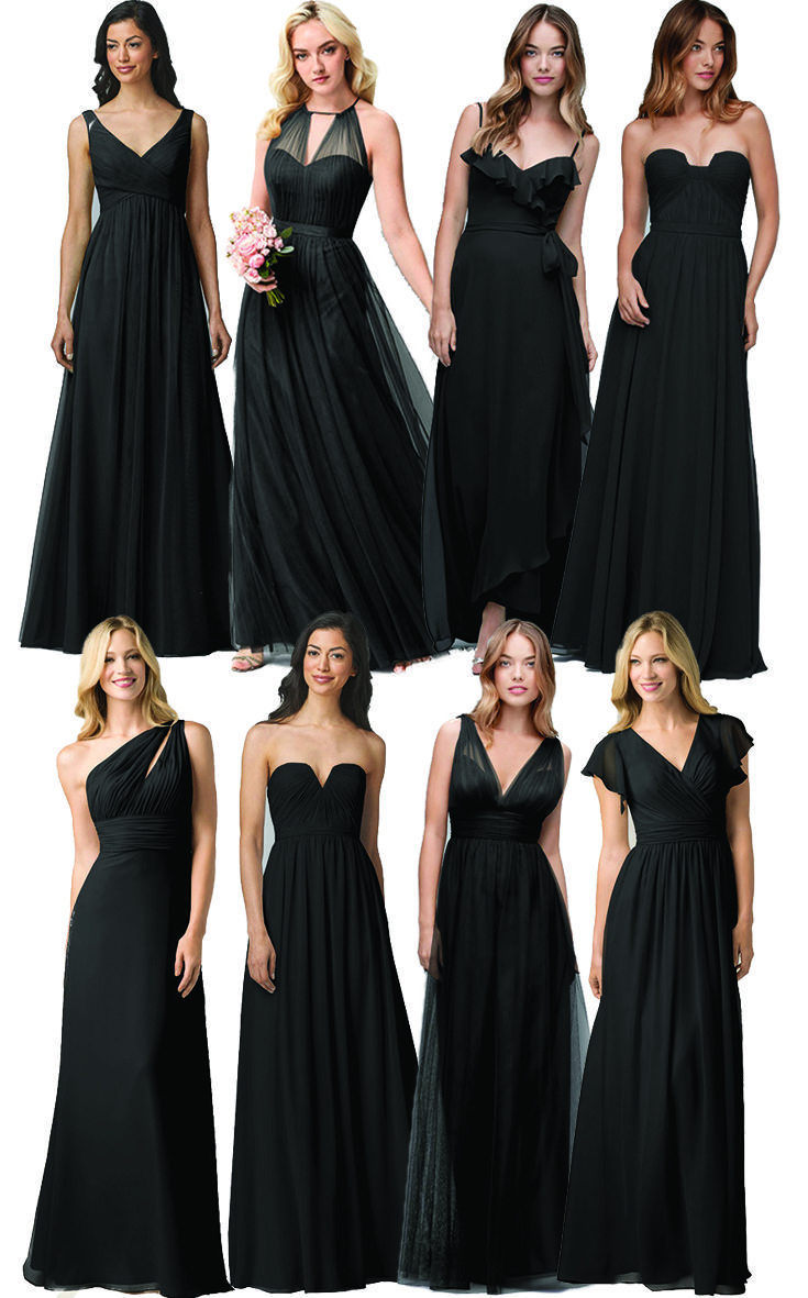 How to mix and match black bridesmaids dresses by watters