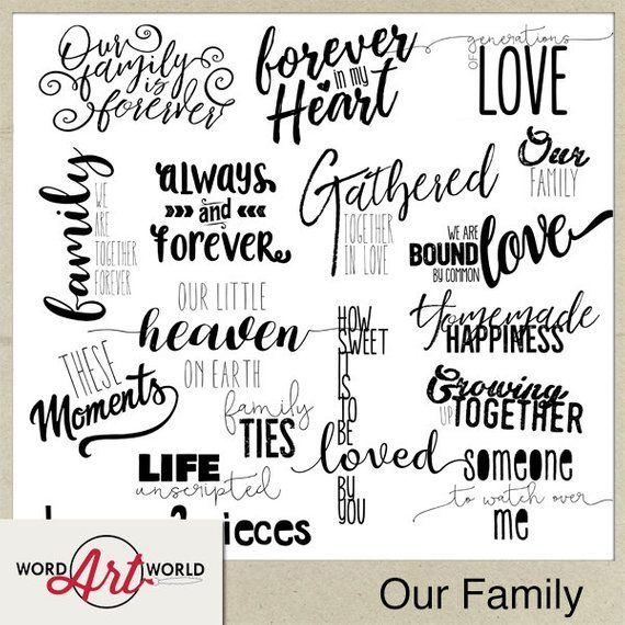 Digital and Printable Overlay Word Art Set - Instant Download - Our
