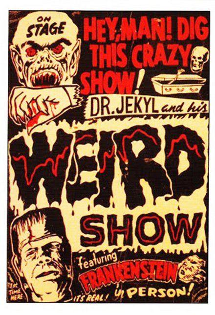 imprimíveis, cartazes clássicos imprimíveis gratuitos, download gratuito, design gráfico, filme de terror, filmes, gravuras retro, teatro, vintage, posteres vintage, Dr. Jekyl e Seu estranho show, com Frankenstein - Horror Theater Vintage Poster