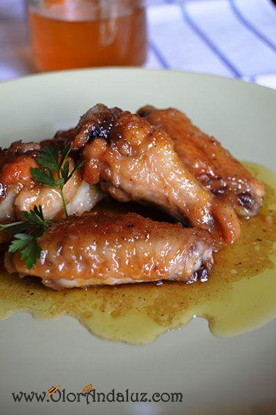Alitas de pollo con cerveza y miel