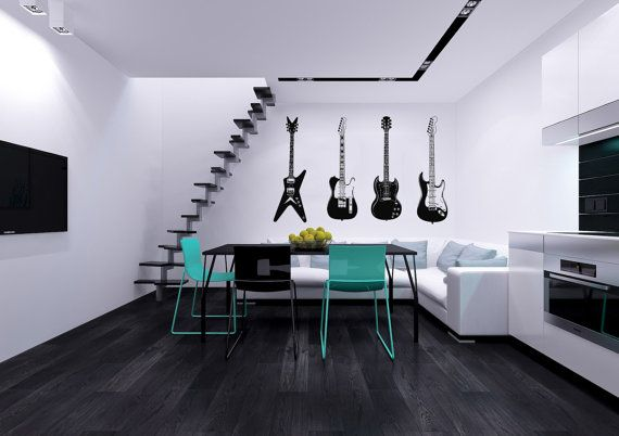 Four Guitars Musical Instrument Housewares Wall Vinyl Decal Sticker Art Design Modern Interior Decor Bedroom Recording Music Studio SV4062