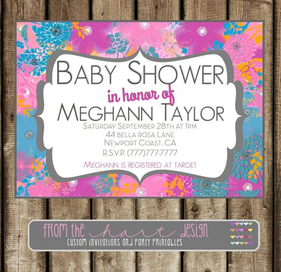 Baby shower invitation flowers Personalized by FromTheHartDesign, $15.00