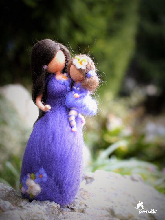 aguja fieltro waldorf inspirada madre con su por PETRUSKAfairyworld