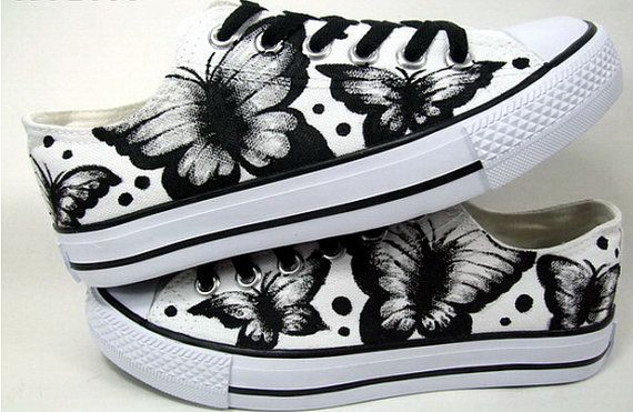 Hand painted canvas shoes  Butterfly and polka by LuLuandLillys, £39.99