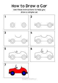 How to draw a car instruction sheet
