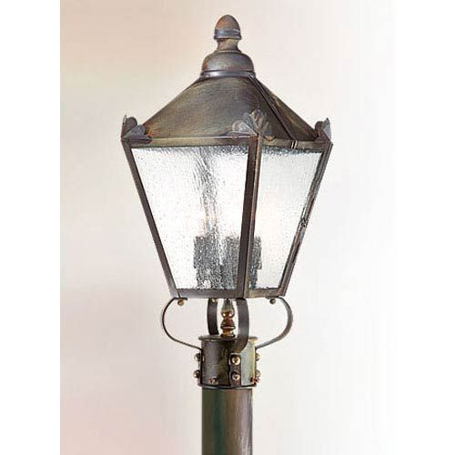 Preston Natural Rust Three Light Outdoor Post Mount With Clear Seeded Glass Outdoor Post Lights Post Lighting Post Lights