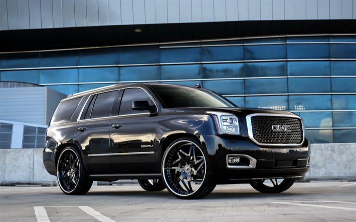 Download wallpapers GMC Yukon, luxury SUV, tuning, Black Yukon, luxury black rims, American cars, GMC