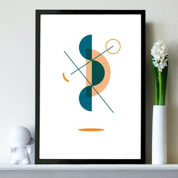 Teal & Orange Two-Colour Geometric A3 Bauhaus Minimalist Inspired Risograph Print - available on Etsy @ £12.50