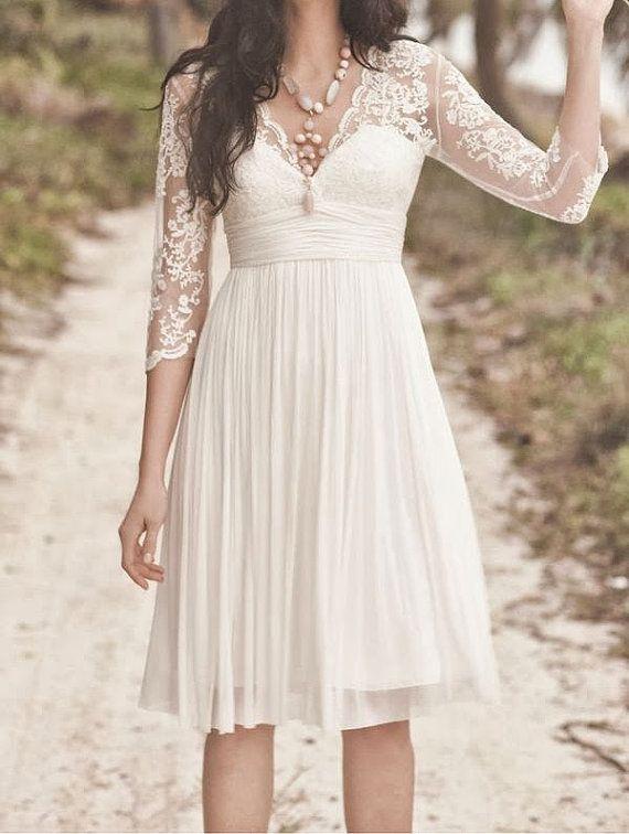 V-neck Knee-length Short Lace Chiffon Bridesmaid Dress Wedding Dress Prom Dress 2014 with Half Sleeves