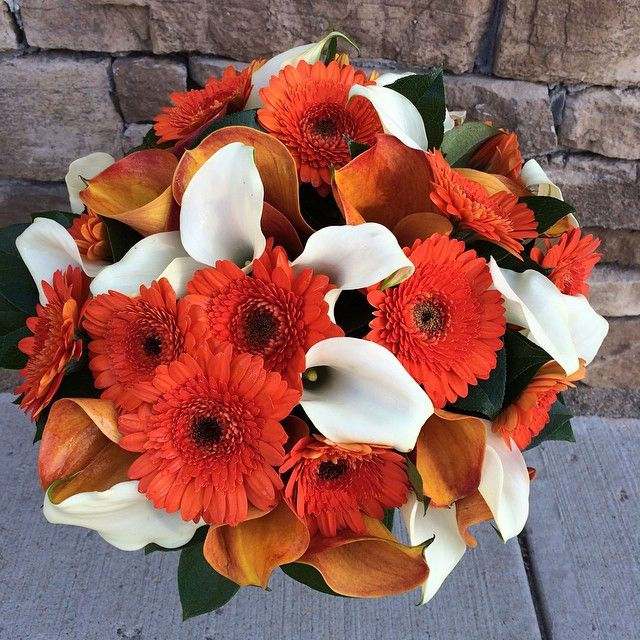 Wedding Bouquet Of Gerbera Daisies : Clutch bouquet of orange gerbera daisy white calla lilies