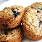 Low-Fat Blueberry Bran Muffins:  12 servings; 123 calories, 0.9 g fat per serving