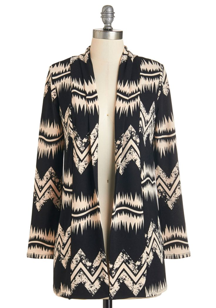 Ready in Record Time Cardigan. Getting dressed, primped, and out the door is a breeze when you have this long monochrome cardigan in your closet!  #modcloth