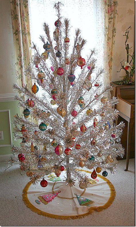 Vintage Tinsel Christmas Tree Trees Ornaments Pinterest And