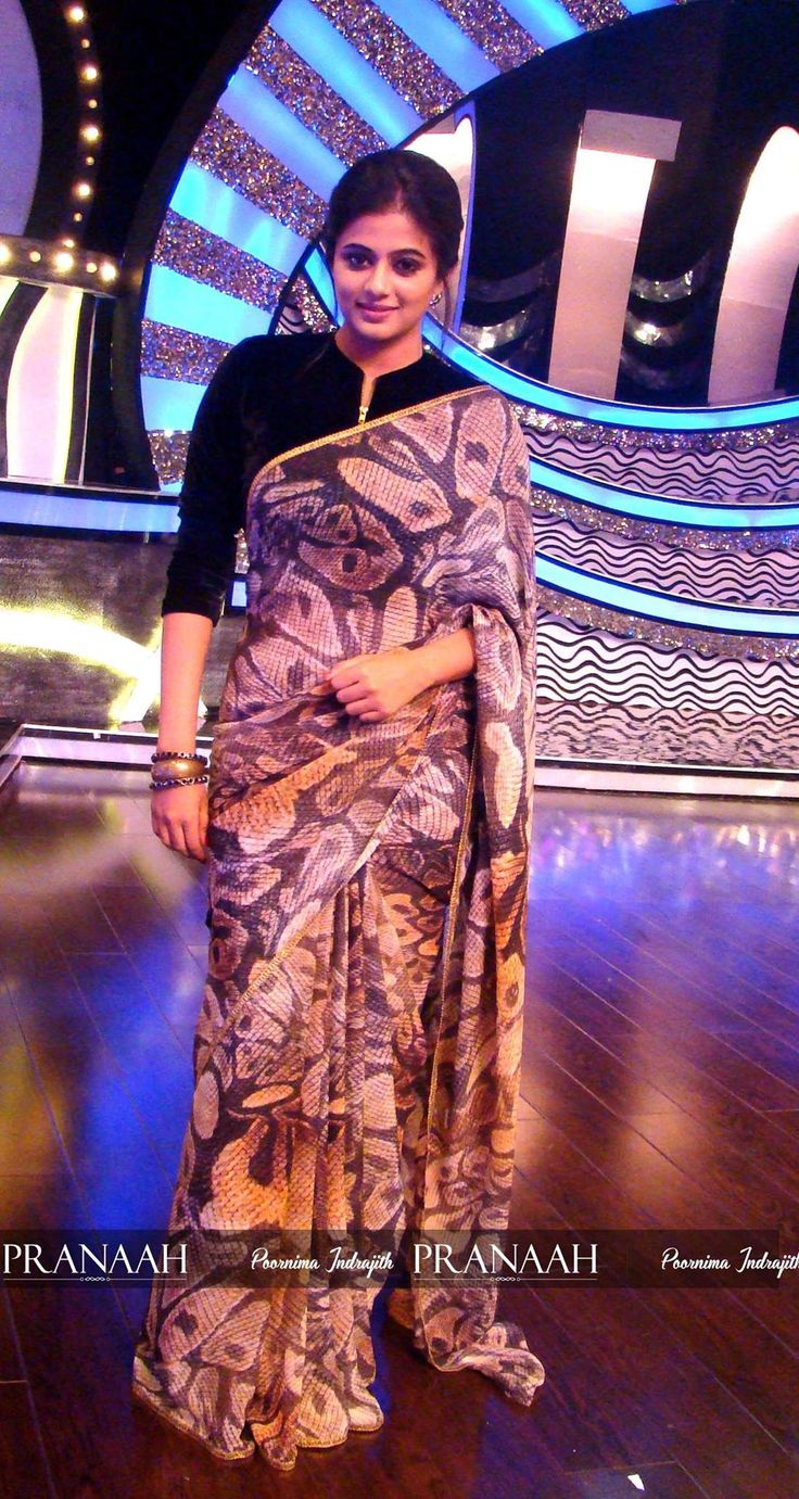Jyothika traditional sari at shobi wedding saree blouse patterns - Printed Saree By Pranah