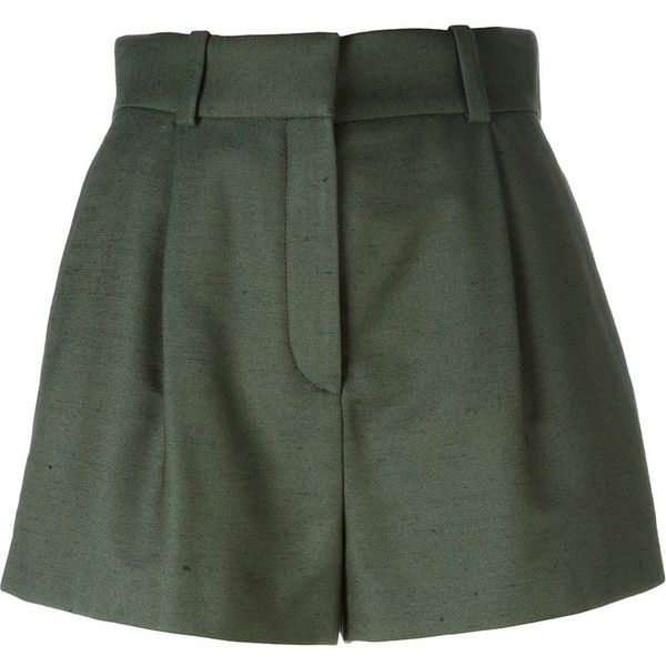 Versace Pleated Shorts (13.006.235 VND) ❤ liked on Polyvore featuring shorts, green, silk shorts, versace shorts, versace, pleated shorts and green shorts