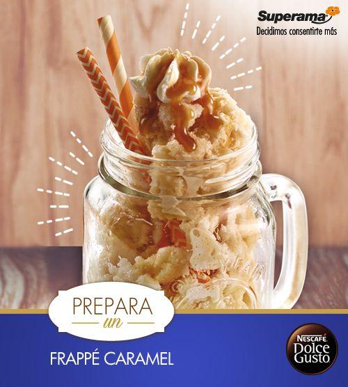 Licúa 4 tazas de hielo hasta triturarlas. Agrega NESCAFÉ® Dolce Gusto® Caramel Latte Macchiato previamente preparado con el jarabe de maíz sabor caramelo. Sirve en mason jars y decora con crema batida.