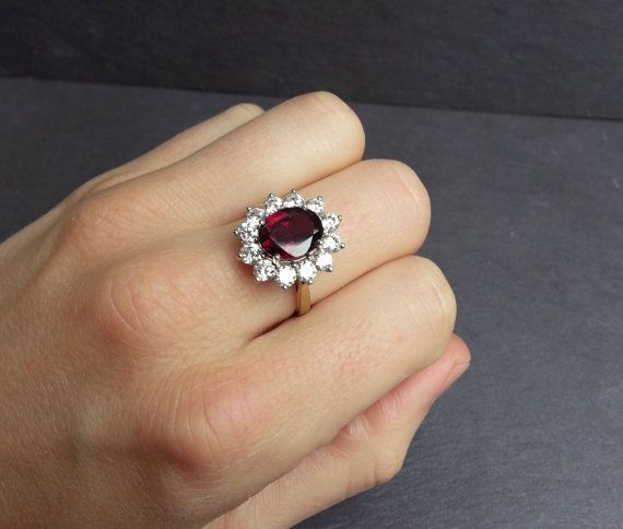 Garnet Engagement Ring in Yellow Gold With Diamond by ArahJames