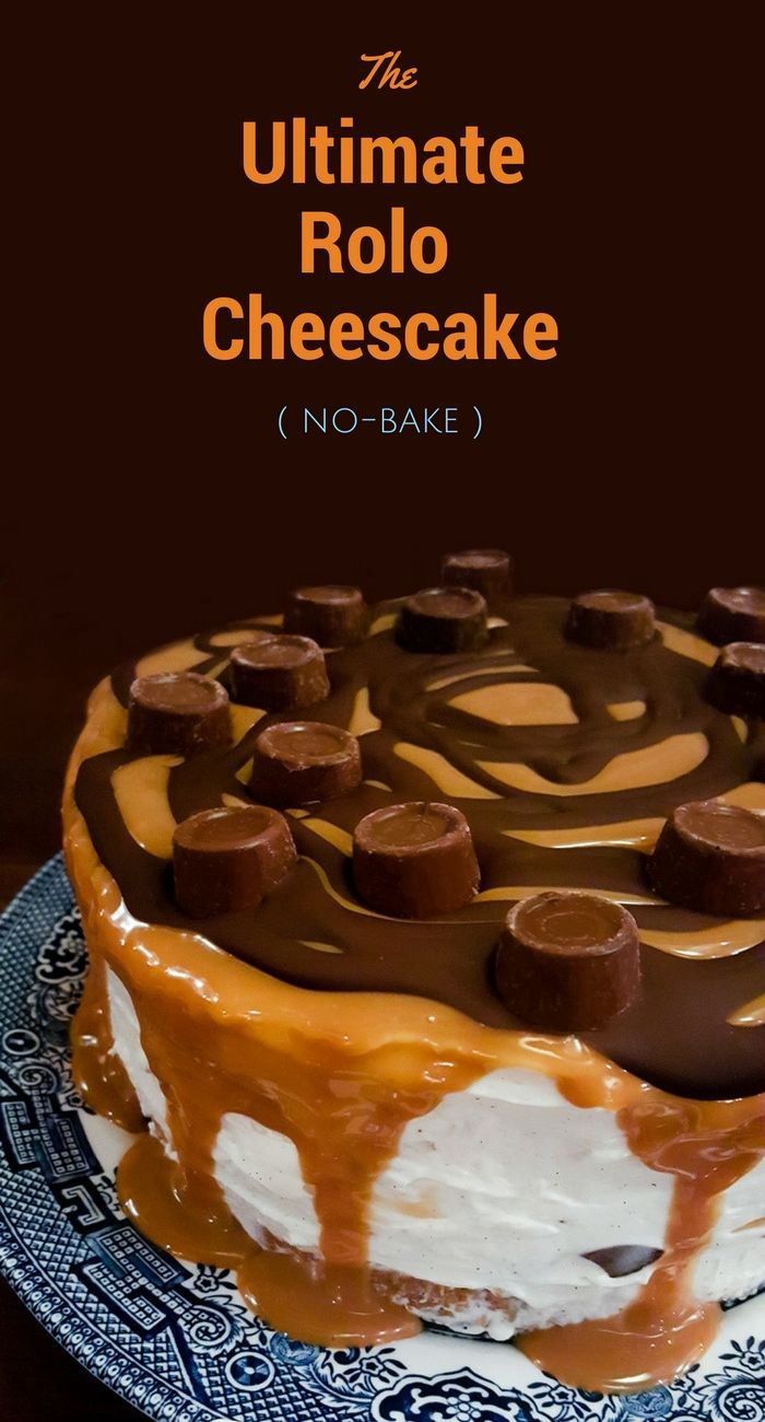 A deep no-bake Rolo cheesecake topped with caramel, melted dark chocolate and Rolos. It's easy to make, but a really stunning cake for a party or celebration, but easy enough to make and serve as dessert after Sunday lunch or dinner. www.tinnedtomatoes.com