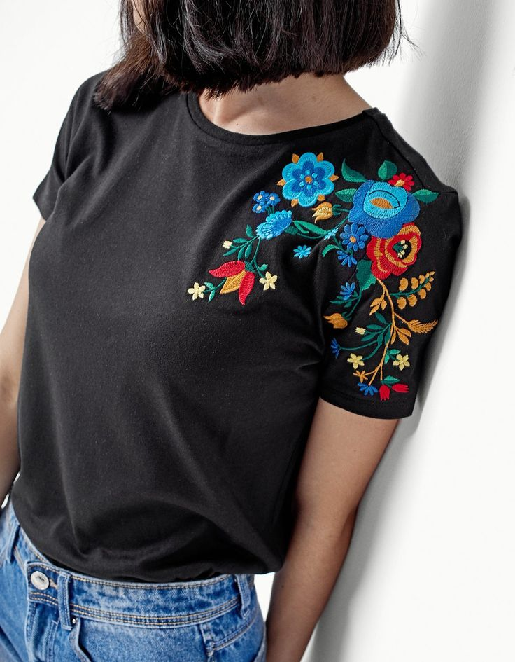 Embroidered T-shirt - T-shirts | Stradivarius Other Countries