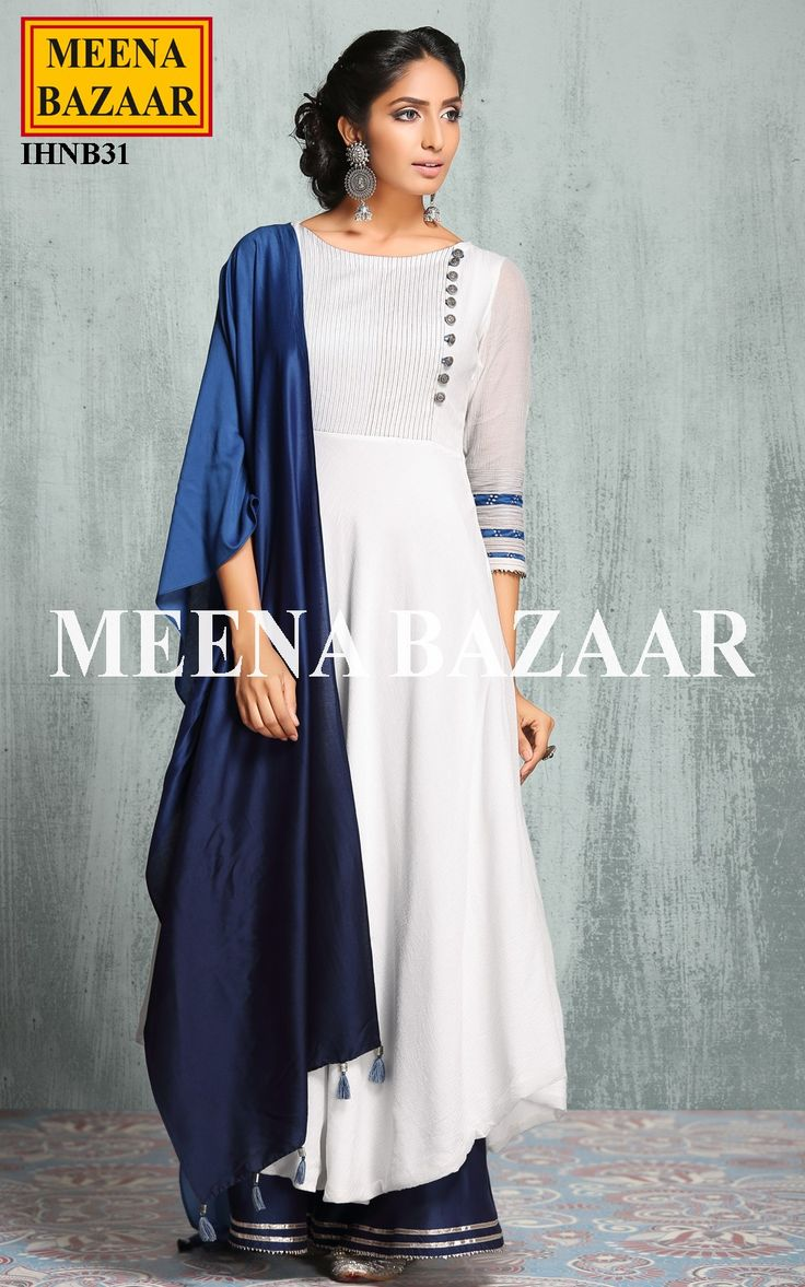 OffWhite & blue Anarkali Suit @ MeenaBazaar