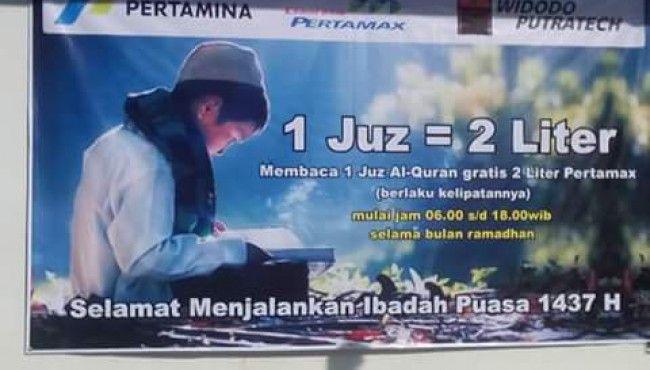Mengaji 1 Juz Dapat 2 Liter Pertamax Gratis Selama Ramadhan 2016