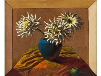 Still Life with Chrysanthemums and Apple By Vladimir Tretchikoff