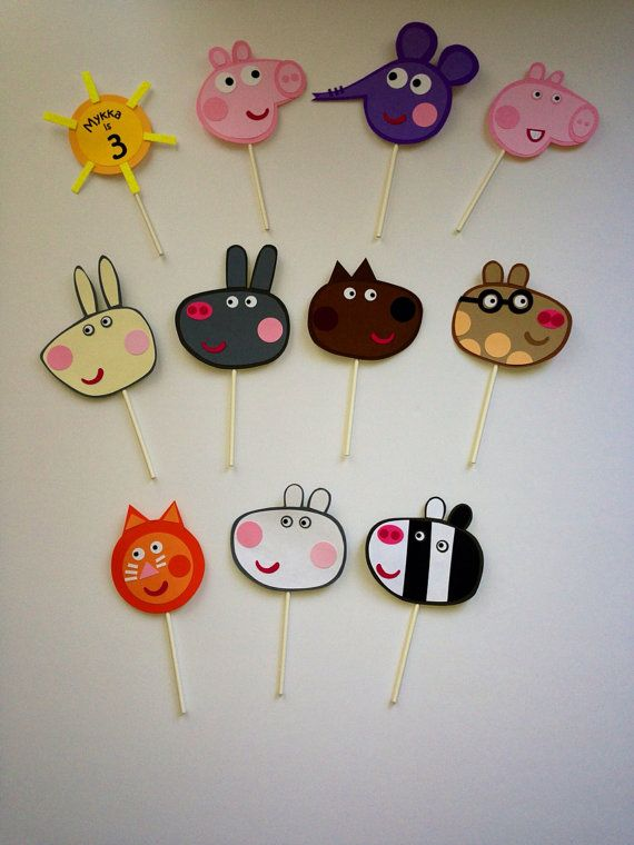 Handmade cupcake topper from Peppa Pig and by Craftophologie, $1.10