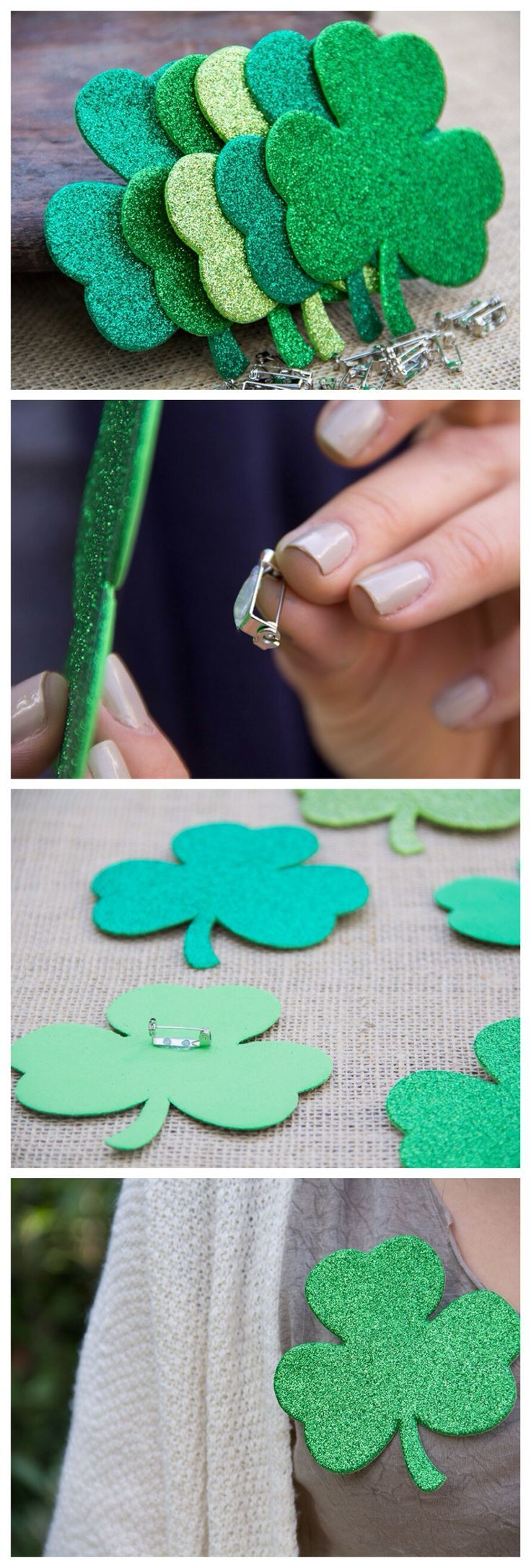 St. Patrick's Day Clover Pin by www.moonfrye.com Moonfrye DIY/ St. Patricks Day Crafts/ Kids Crafts