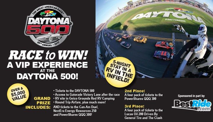 Enter to win tickets to  http://promotions.thetimesnews.com/2017-Daytona-500-BestRide-Sweepstakes/referrals/8c51d9b4-f81e-46c2-be98-3bc82c613a87