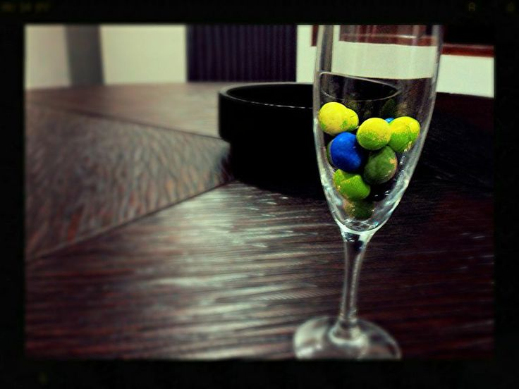 a glass of candy