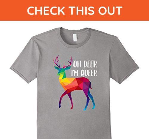 Mens Oh Deer I'm Queer - Funny Pun LGBT Rainbow Gay Pride T-Shirt Medium Slate - Funny shirts (*Amazon Partner-Link)