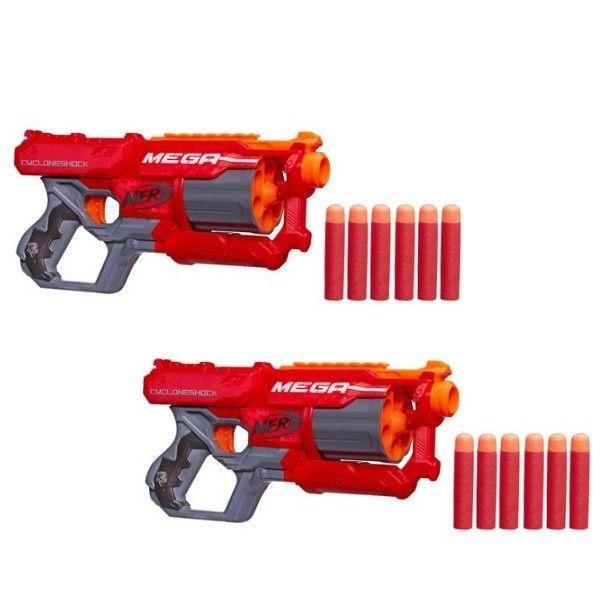 Nerf Soft Dart Gun Toy Set of 2 N-Strike Elite Mega CycloneShock Dual Blasters #NerfElite