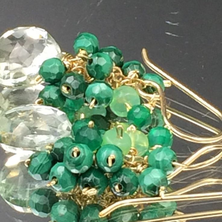 Emerald green earrings with malachite and green Ethiopian opals - so pretty!