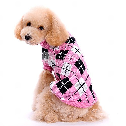 Dog Sweater Pink Dog Clothes Winter Plaid/Check Plaid 2016 - $6.79
