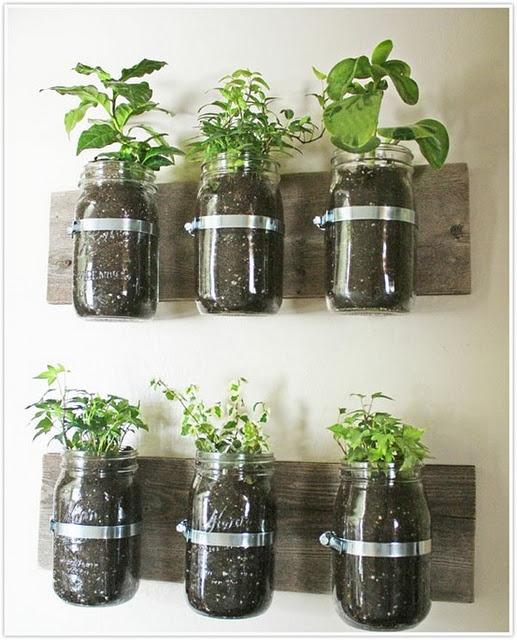 Lovely herb garden: Ideas, Herbs Garden, Gardens, Mason Jars, Masonjar