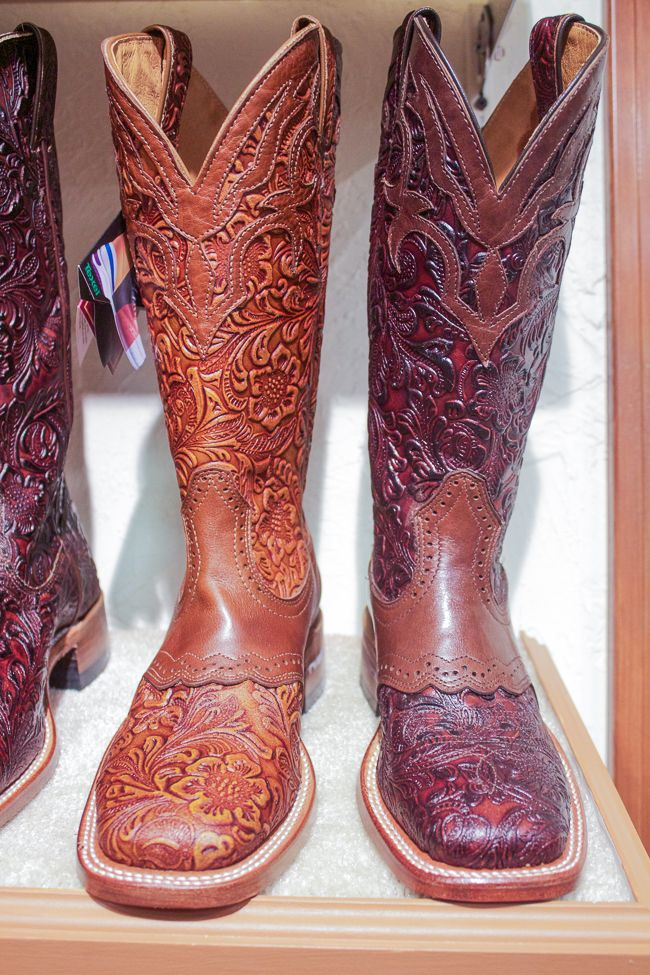 Brown Carved Leather Boulet Cowboy Boots