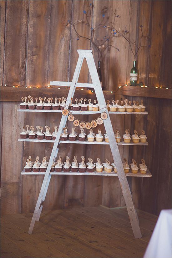 ladder cupcake display    we ❤ this!  moncheribridals.com   #weddingdesserts #weddingcupcakedisplay