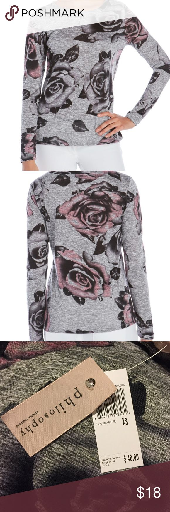 Philosophy Gray Floral Print Long Sleeve Top Brand new with tags. Bateau neck, long sleeves, allover print, knit construction, ribbed trim, 100% Polyester. Philosophy Tops Tees - Long Sleeve