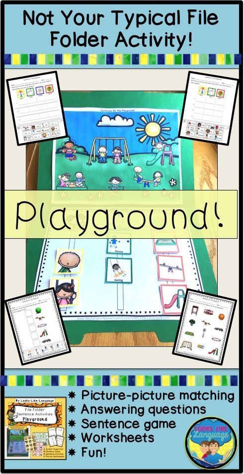Interactive file folder sentence building activities to tell about playground fun! Great for autism and limited readers! $