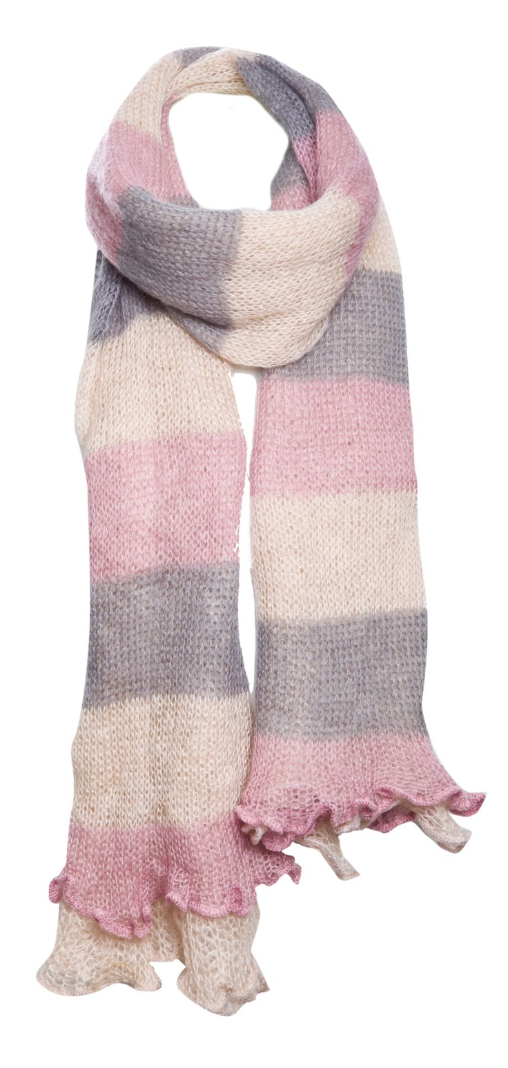 DOUBLE LAYER MULTICOLOR STRIPE KNIT SCARF