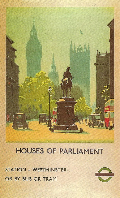 Whitehall | Flickr - by Leonard Bentley, vintage poster Houses of Parliament from Whitehall