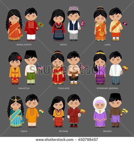 6facb39e4 Burma (Myanmar), Brunei, Bhutan, Bangladesh, India, Nepal, Thailand,  Malaysia, Laos. Set of asian pairs d… | Global Field Day | Dress…